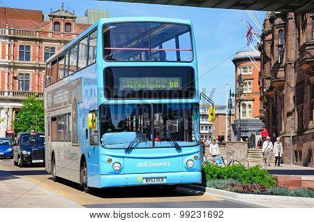 Modern blue bus, Coventry.
