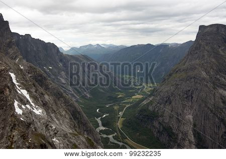 View from of the Rauma river Trollveggen (Trollwall)
