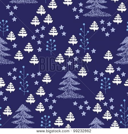 Seamless Scandinavian style illustration forest tree Christmas theme background blue and aqua pattern in vector