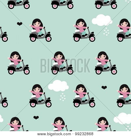 Seamless kids scooter waving Italian girl illustration with love clouds and mint background pattern in vector