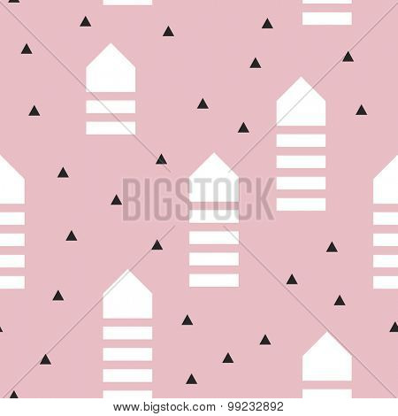 Seamless abstract geometric arrows scandinavian style illustration graphic background pattern in vector