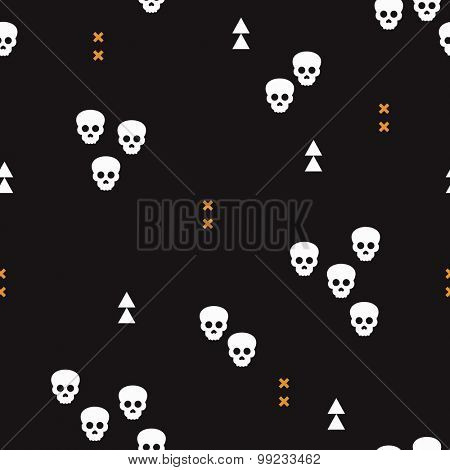 Seamless Halloween horror skulls and geometric abstract elements illustration background pattern print in vector orange and black