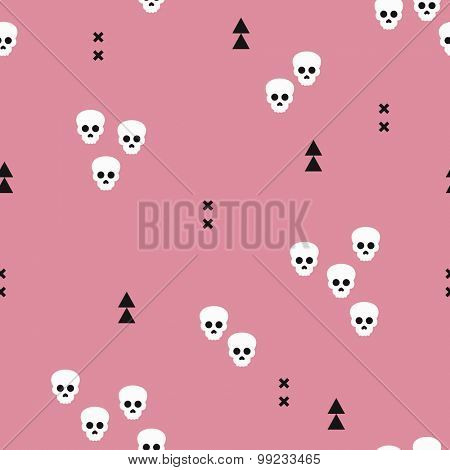 Seamless Halloween horror skulls and geometric abstract elements illustration background pattern print in vector pink