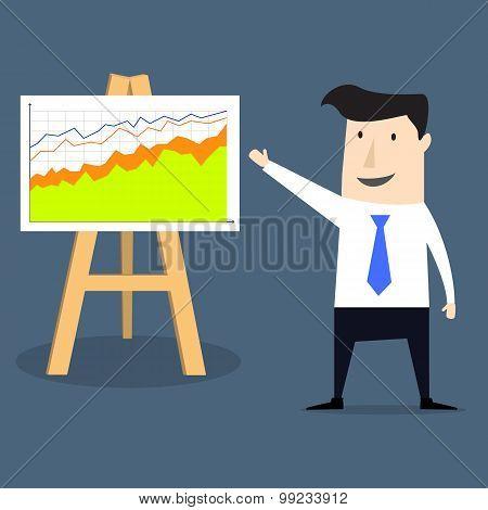Flat style businessman progress