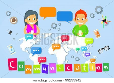 Couple Message Using Cell Smart Phone Surfing Internet Social Network Chat Bubble Communication