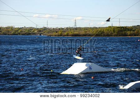 Wakeboarding on Chasewater Lake.