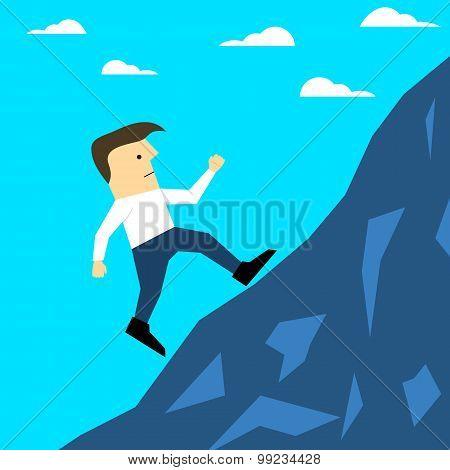 Illustration of a man climbing hill