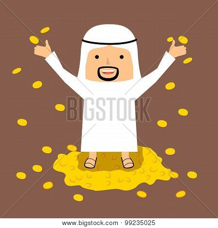 Rich Arab man with gold coins