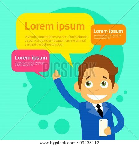 Businessman Cartoon Character Using Cell Smart Phone Message