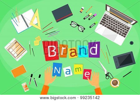 Brand Name Concept Creative Businessman Desk Flat