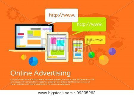 Online Advertising Digital Device Internet Web Flat