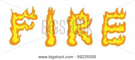 illustration text word design fire