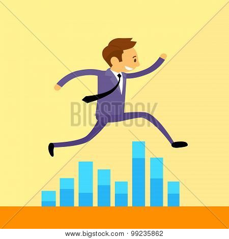 Businessman Run Jump over Financial Bar Graph