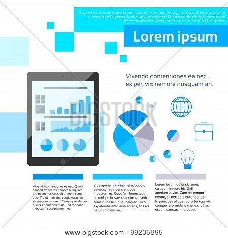 Tablet Finance Chart Infographics Web Page Layout Template