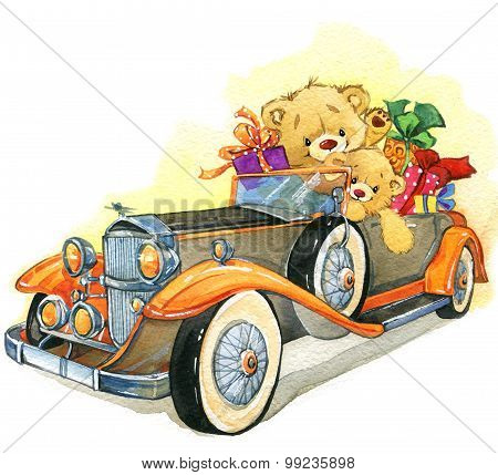 Teddy bear and vintage car. watercolor illustration