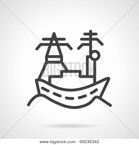 Town sea port line vector icon