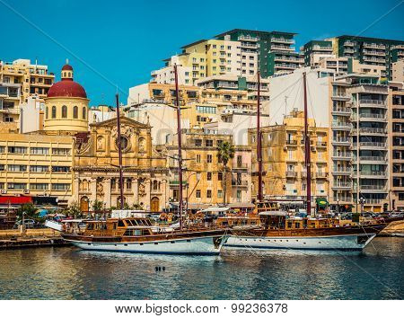 yachts on parking in Marsamxett Harbour near Valletta in Malta
