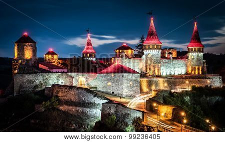 nighttime view on Kamenetz-Podolsky fortress in lights