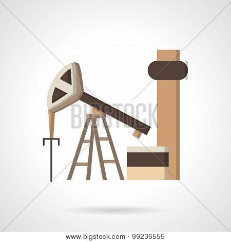 Oil pump jack flat color vector icon
