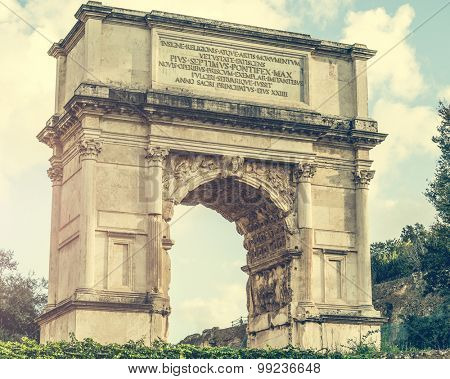 view on The Arch of Constantine is a triumphal arch in Rome near Coliseum
