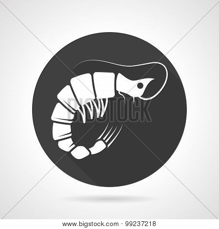 Prawn black round vector icon