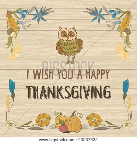 Thanksgiving Day Vector Card