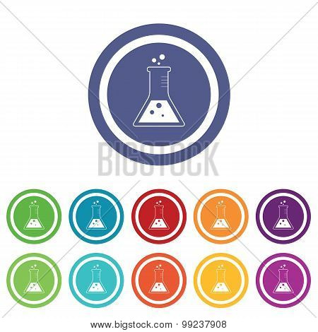 Conical flask signs colored set