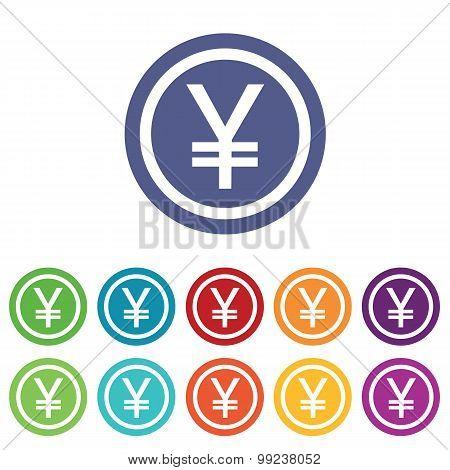 Yen signs colored set
