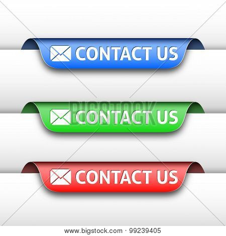 Vector Contact Us Labels Or Tags For The Web Design