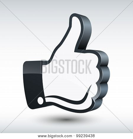 Vector Three-dimensional Thumb Up