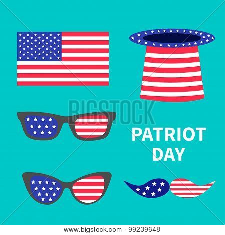 Glasses Mustaches Hat Flag Set. Patriot Day Background Flat Design