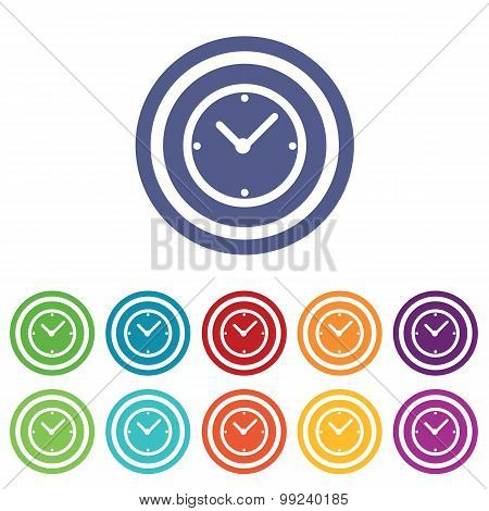 Clock signs colored set
