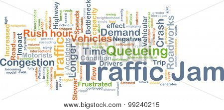 Background concept wordcloud illustration of traffic jam