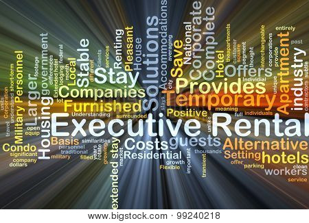 Background concept wordcloud illustration of executive rental glowing light