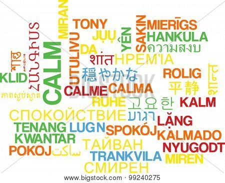 Background concept wordcloud multilanguage international many language illustration of calm