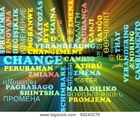 Background concept wordcloud multilanguage international many language illustration of change glowing light