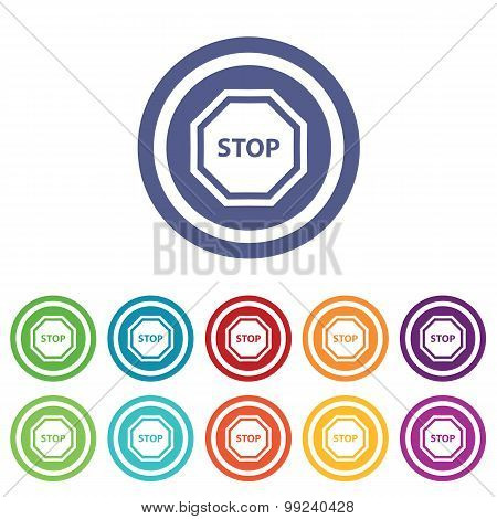 STOP signs colored set