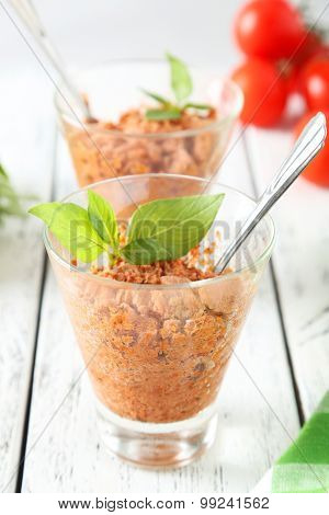 Glass With Granita From Fresh Tomatoes On White Wooden Background