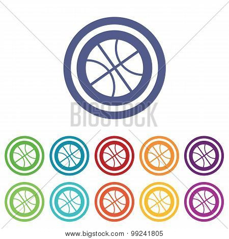 Basketball signs colored set