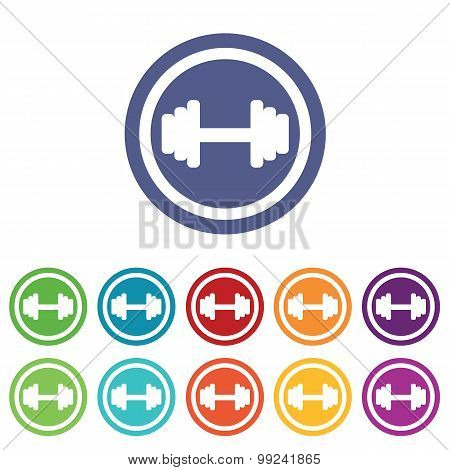 Barbell signs colored set
