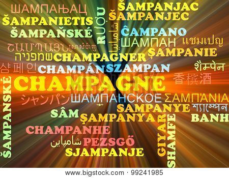 Background concept wordcloud multilanguage international many language illustration of champagne glowing light