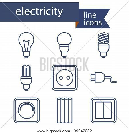 Set of line icons for DIY, electricity tools.