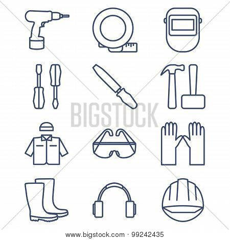 Set of line icons for DIY, tools and work clothes.