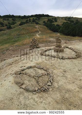 Peace Sign Rock Piles