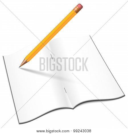 Blank Open Notebook With Pensil, Vector