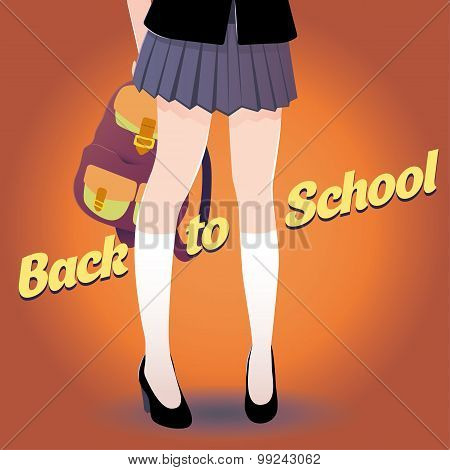 Japanese schoolgirl legs with bag and lettering Back to school in retro style.