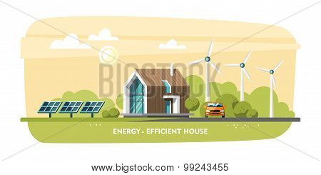 Green energy, energy-efficient house, passive house, eco house, ecology.