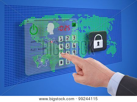 business, technology and internet concept -  cyber security on virtual screens