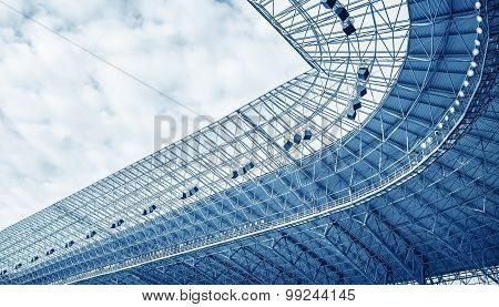 Construction of the stadium roof.