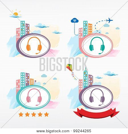 Vector Headset Icon On Color City Background.